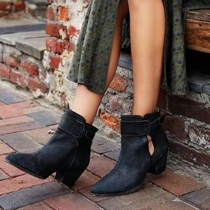 NWOT Free People Belleville Black Nubuck Booties